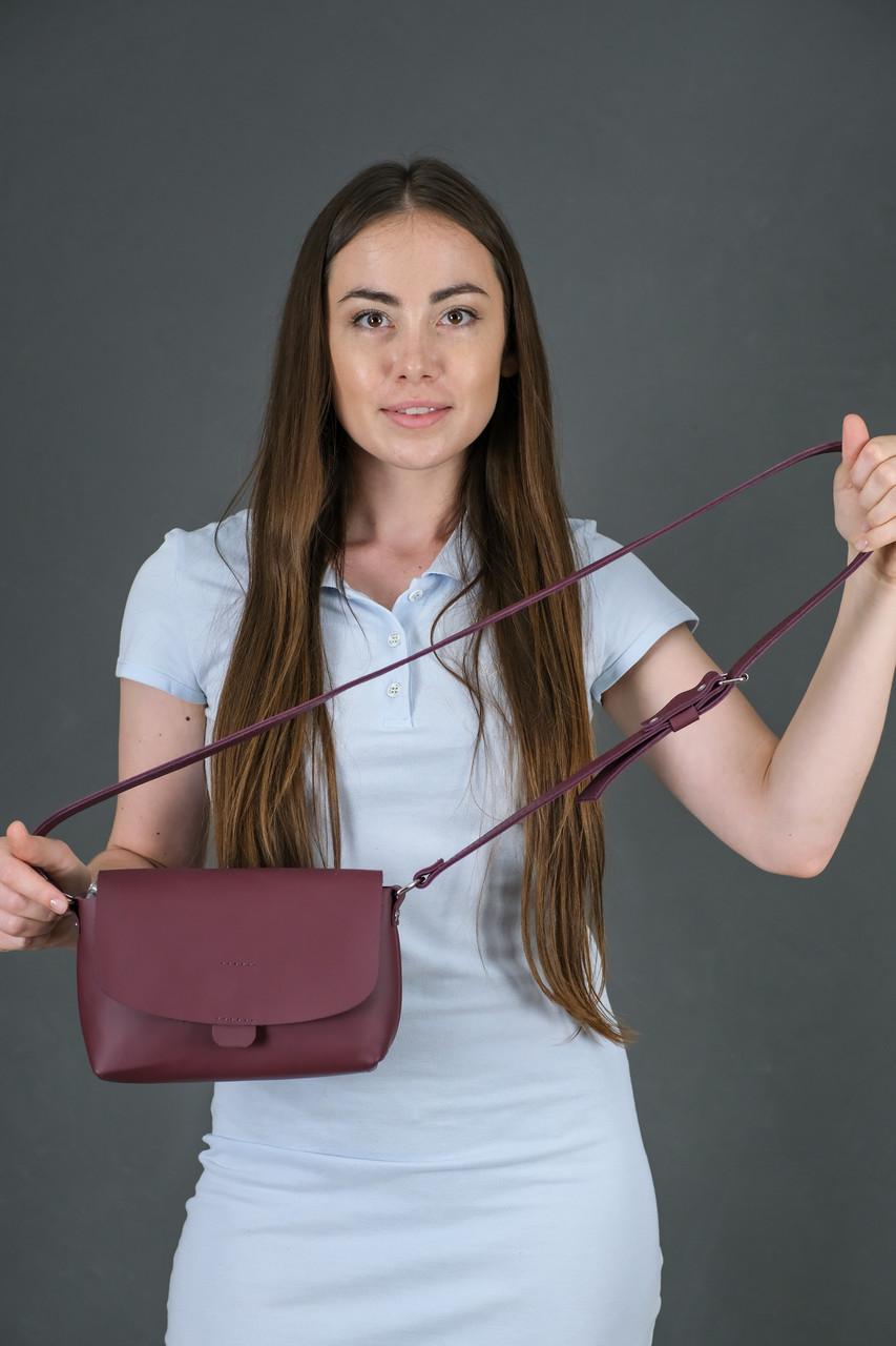 Женская кожаная сумка Итальяночка, натуральная кожа Grand, цвет Бордо