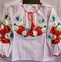 Вышиванка с маками для девочек, садик, р. 98-116
