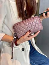 Кошелек косметичка на молнии стеганная фактура / натуральная кожа (10219) Розовый