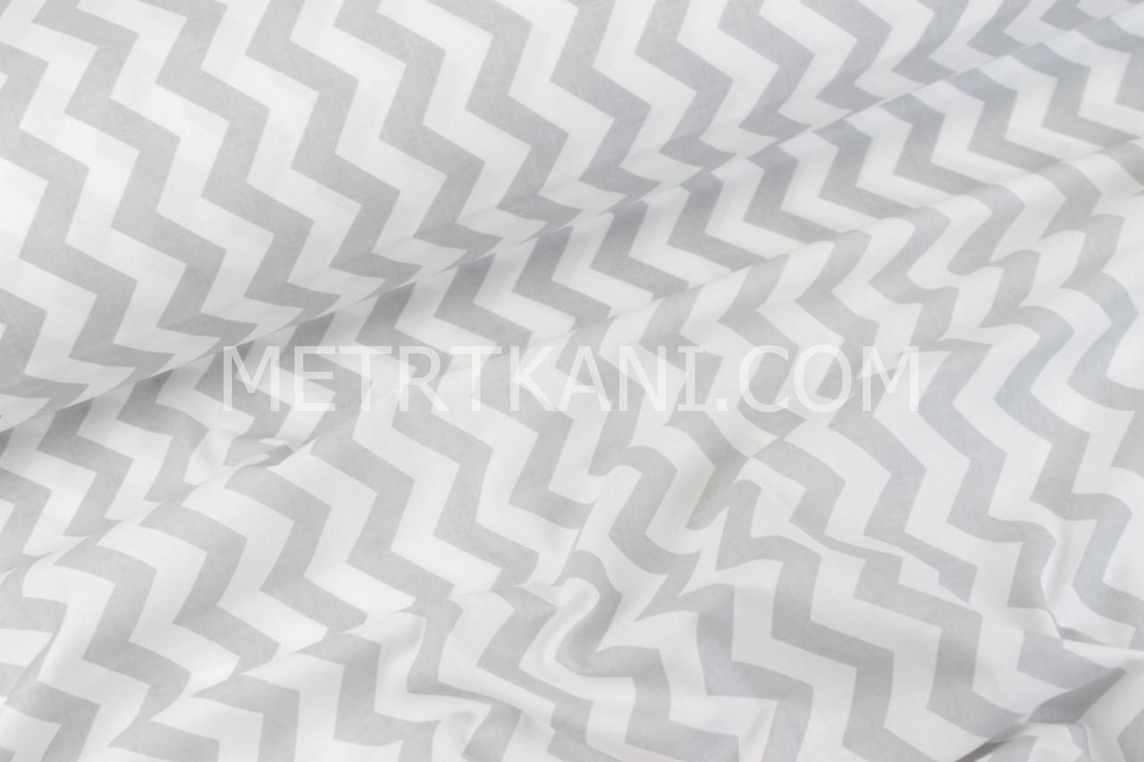 Клаптик. Польська бязь з сірим зигзагом 125г/м. 42*160 см