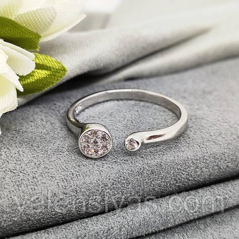 Срібне родированное кільце з круглим фианитом, фото 2