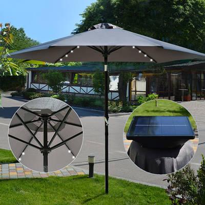 Усиленный пляжный зонт антиветер 2,7 м с Led-подсветкой  / Складной большой зонт с наклоном от солнца Серый