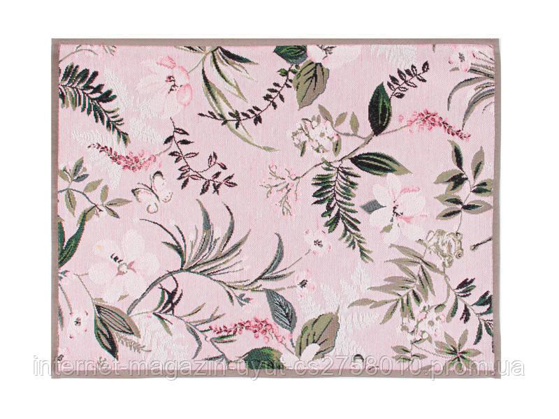 """Салфетка прямоугольная гобеленовая """"Цветы"""" 35х45 см розовая"""