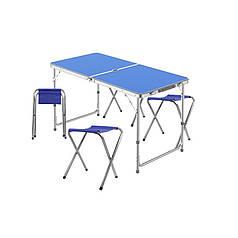 Стіл складаний Lanyu L-2-U Blue з 4 стільцями і отвором для парасольки 120 см розкладний садовий
