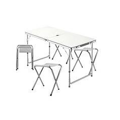 Стол складной Lanyu L-2-U White с 4 стульями и отверстием для зонта 120 см раскладной садовый