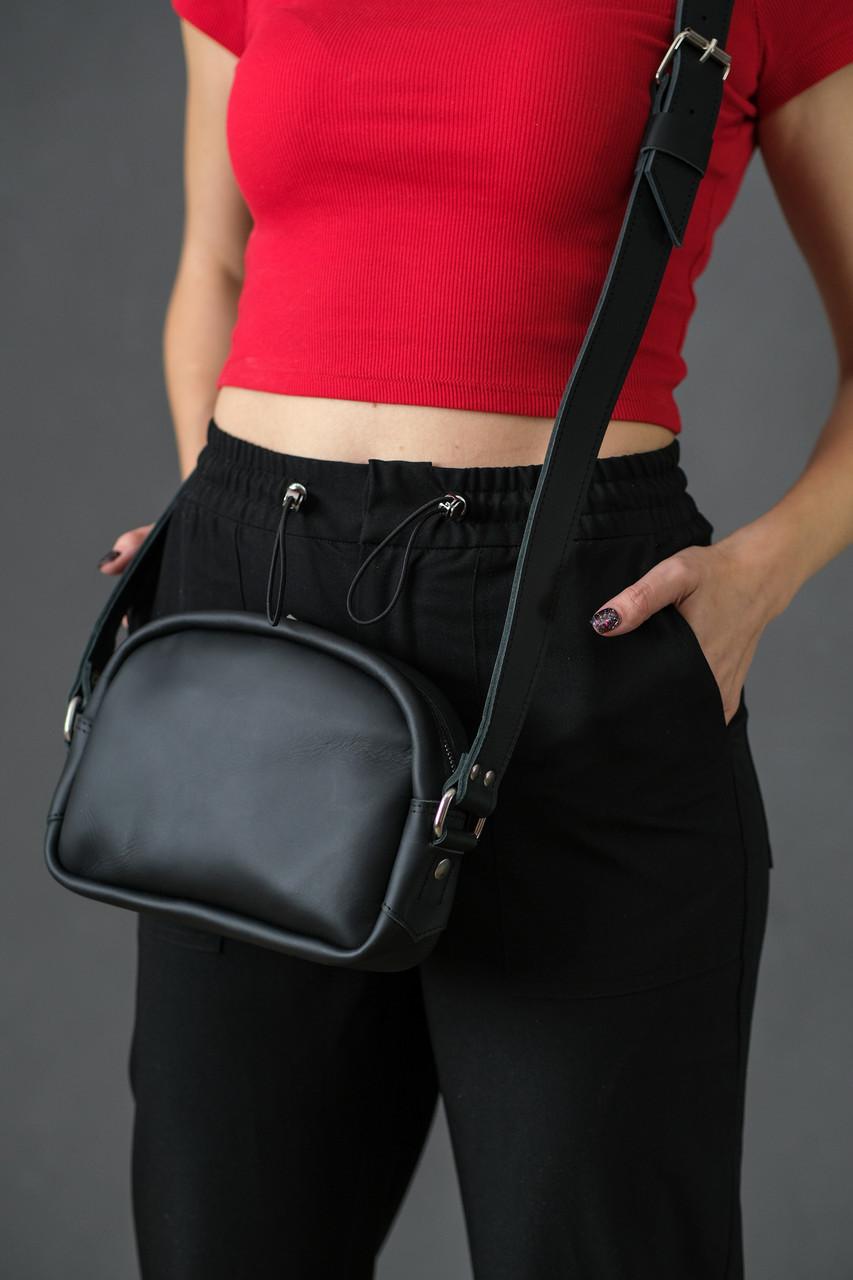 Жіноча шкіряна сумка Віола, натуральна шкіра Grand, колір Чорний