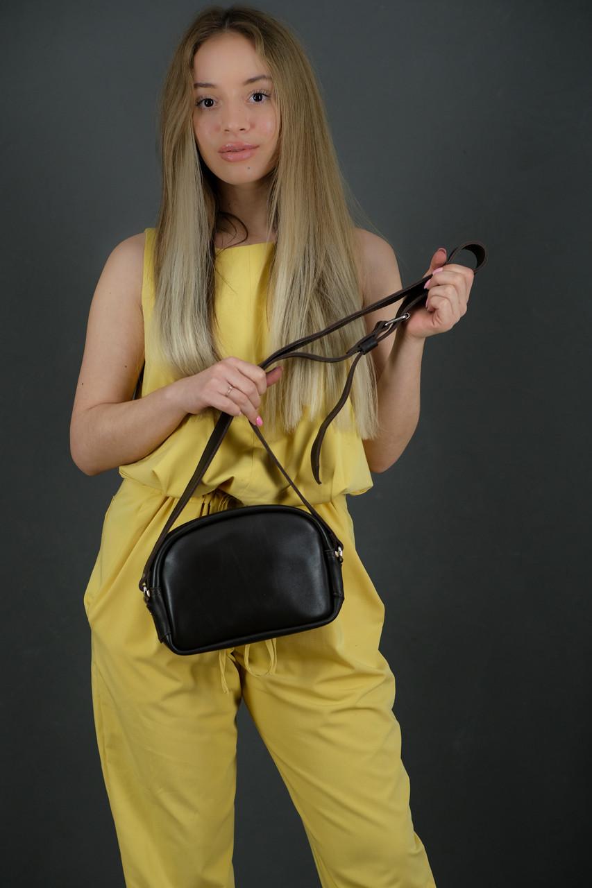 Жіноча шкіряна сумка Віола, натуральна шкіра з лицьовим покриттям, колір Коричневий