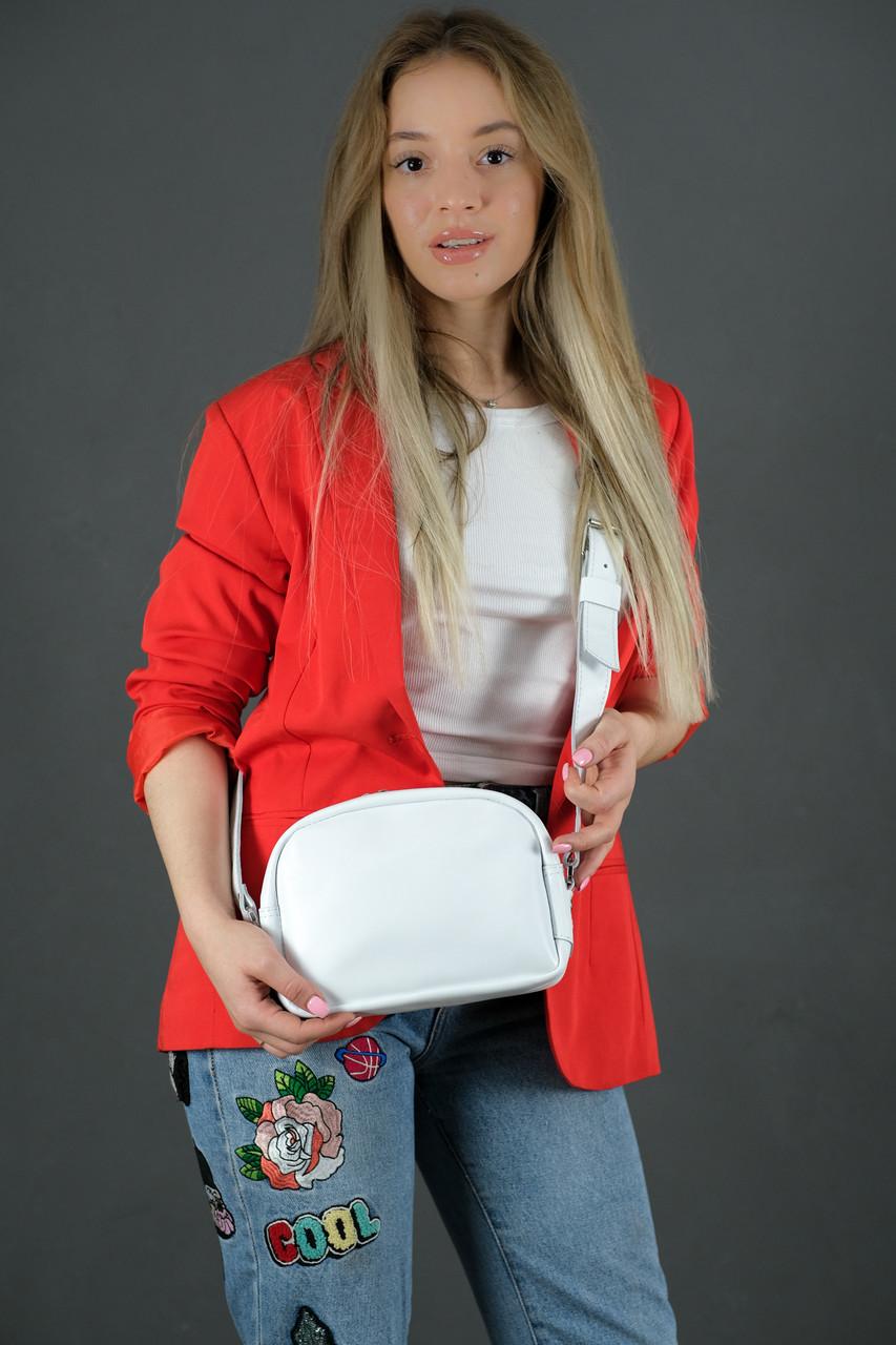 Женская кожаная сумка Виола, натуральная Гладкая кожа, цвет Белый