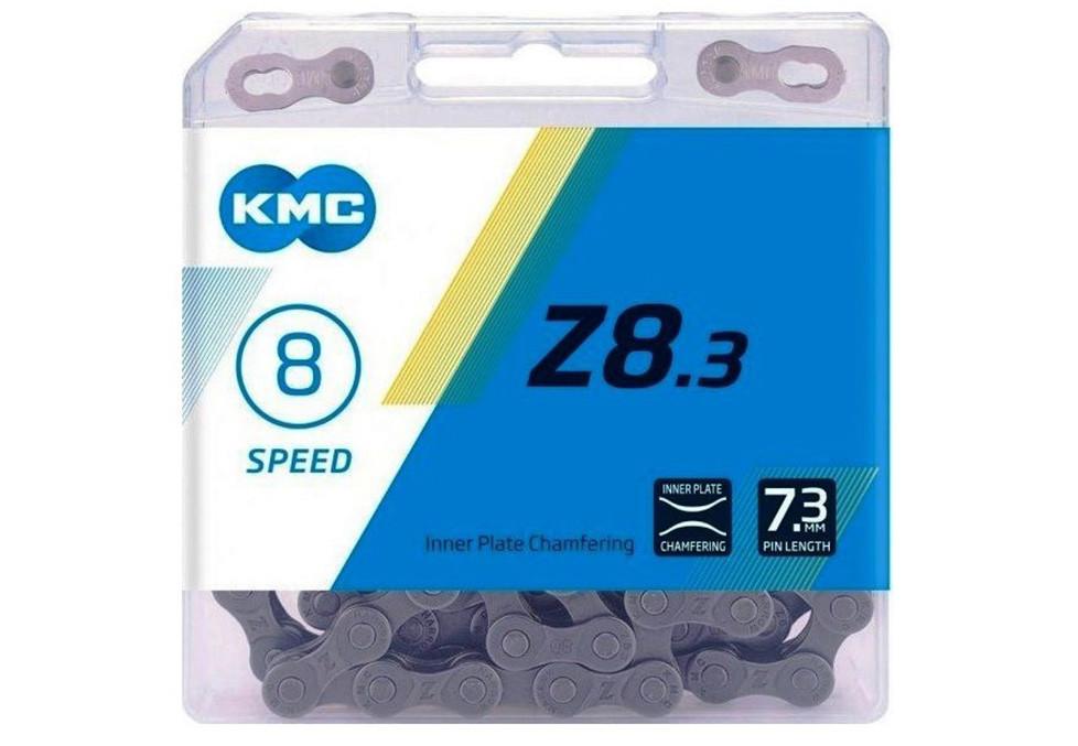 Цепь велосипедная KMC Z8.3 7-8 скоростей 114 звеньев + замок серебристый / серый