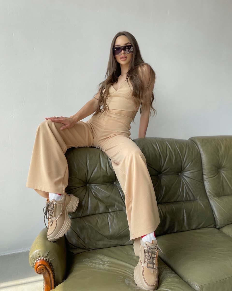 Женский костюм тройка с топом, брюками палаццо и кофтой (р. S-M) 66101938Q
