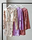 Жіночий костюм трійка в принт з топом, розкльошеними брюками палаццо і укороченою кофтою (р. S-M) 66101939Q, фото 6