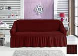 Чохол універсальний натяжна Жатка зі спідницею на Диван 3-х місний Колір Салатовий бренд KAYRA Туреччина, фото 4