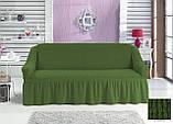 Чохол універсальний натяжна Жатка зі спідницею на Диван 3-х місний Колір Салатовий бренд KAYRA Туреччина, фото 5