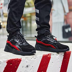 Кросівки чоловічі замшеві Пушка Огонь Step чорно-червоні