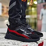 Кросівки чоловічі замшеві Пушка Огонь Step чорно-червоні, фото 3