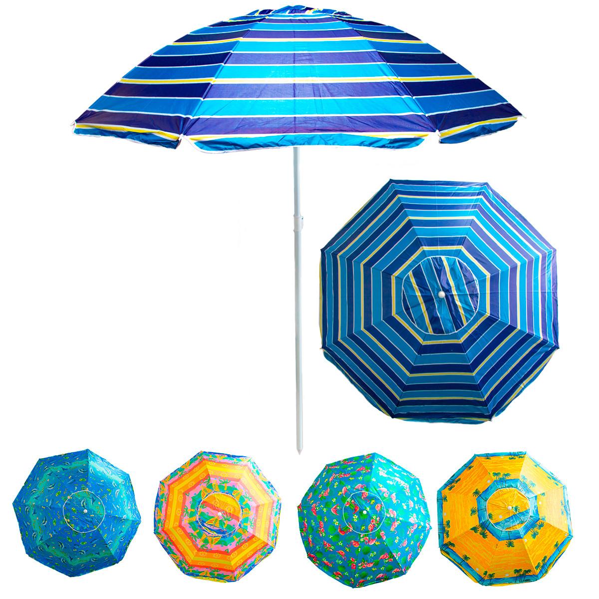 """Пляжный зонт антиветер """"Stenson - синий Полоски"""" 1,8м с серебряным покрытием, зонт от солнца большой (NS)"""