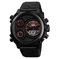 Skmei 1359 чорні з червоним чоловічі спортивні годинник, фото 1