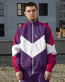 Вітрівка-зіпер чоловіча Гармата Вогонь Split фіолетово-рожева