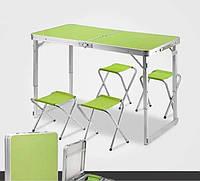 Усиленный стол для пикника раскладной с 4 стульями , Складной туристический стол !