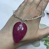 Рубин капля изысканный кулон на цепочке с индийским рубином в серебре Индия, фото 3
