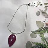 Рубин капля изысканный кулон на цепочке с индийским рубином в серебре Индия, фото 6