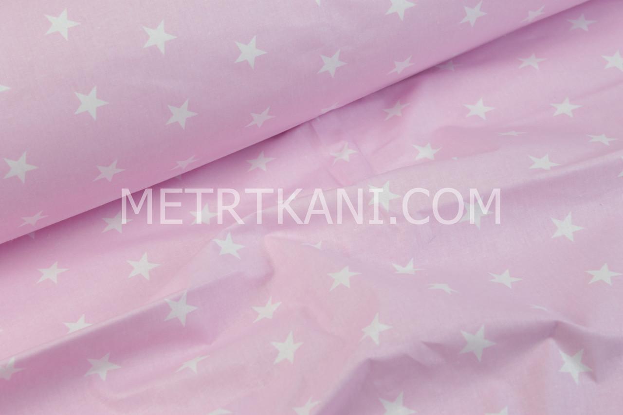Лоскуток. Хлопковая ткань со звездами белого цвета 2 см на розовом фоне , 20*160 см