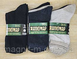 """Чоловічі шкарпетки літні """"Житомир"""" Елементи сітки. Скріплені етикеткою по три пари. Три кольори. №028S(3)."""