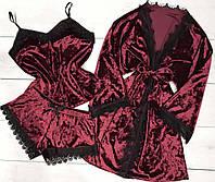 Бордовий велюровий комплект трійка халат, піжама.