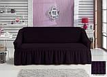 Чехол универсальный натяжной Жатка с юбкой на Диван 3-х местный Цвет Экрю бренд KAYRA Турция, фото 9