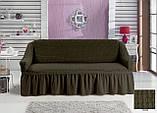 Чохол універсальний натяжна Жатка зі спідницею на Диван 3-х місний Колір Ванільний бренд KAYRA Туреччина, фото 8
