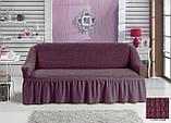 Чохол універсальний натяжна Жатка зі спідницею на Диван 3-х місний Колір Ванільний бренд KAYRA Туреччина, фото 9