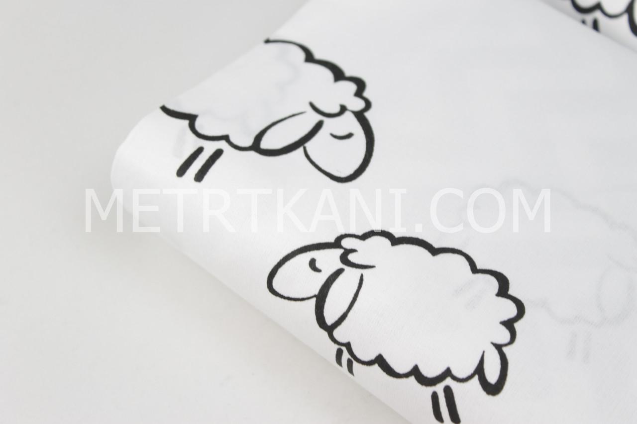 Лоскуток.  Бязь с черные овечки на белом фоне, 61*160 см