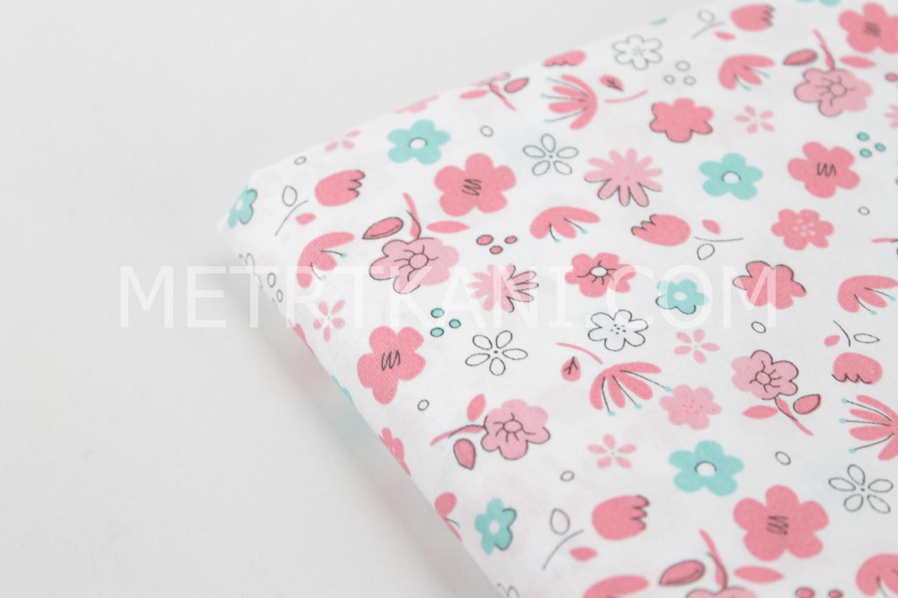 """Клаптик. Тканина бавовняна """"Маленькі квіточки"""" коралово-м'ятні на білому тлі, 24*160 см"""