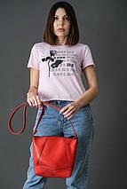 Жіночий шкіряний шоппер Діамант, натуральна шкіра італійський Краст, колір Червоний, фото 2