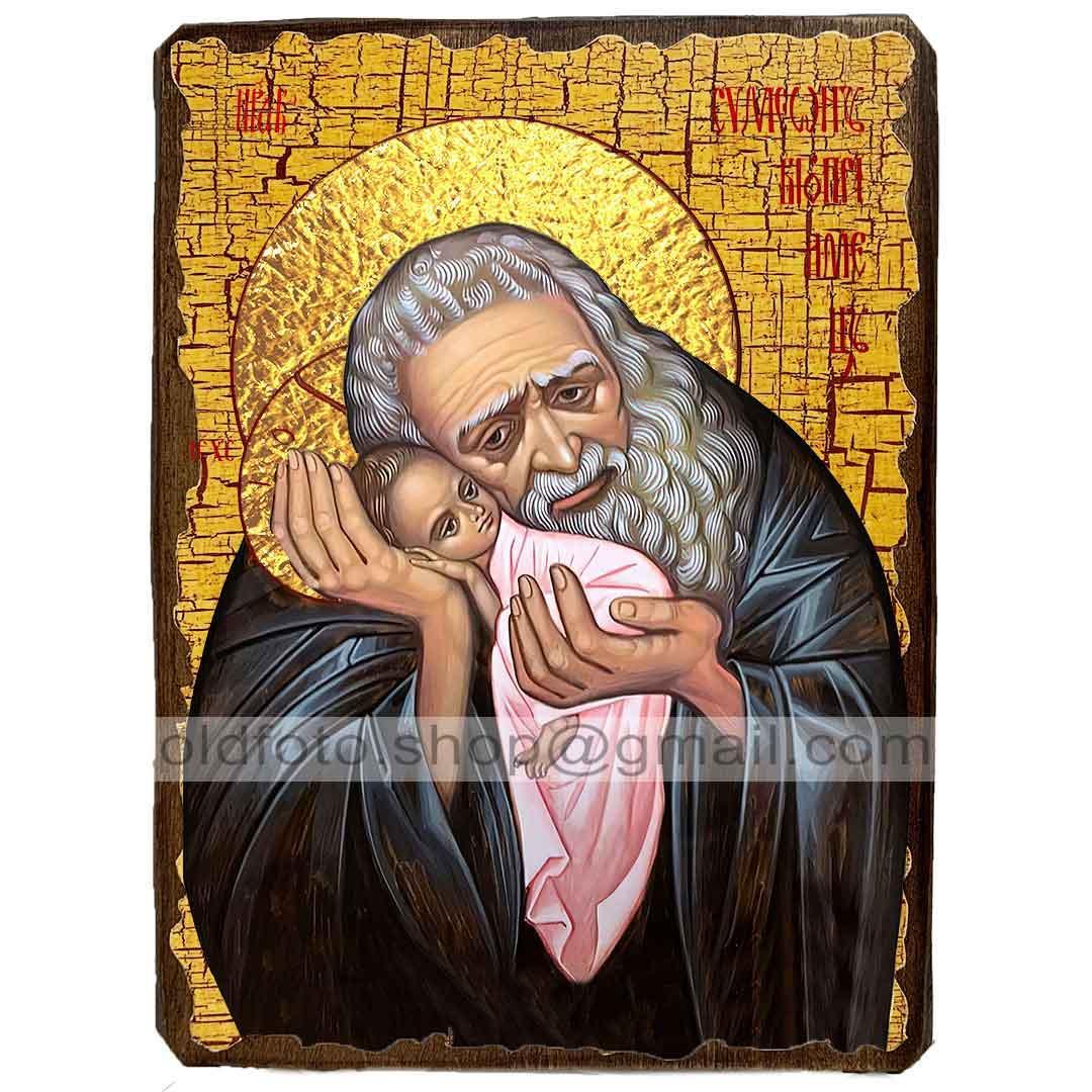 Икона Симеон Богоприимец Святой Праведный ,икона на дереве 130х170 мм