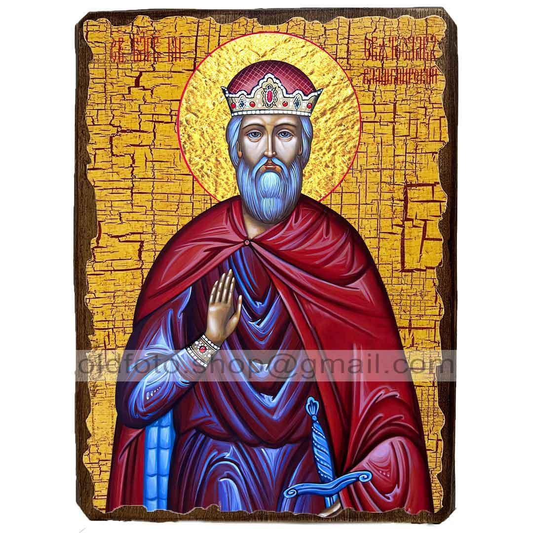 Ікона Святослав Всеволодович Благовірний Князь Володимирський ,ікона на дереві 130х170 мм