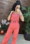 Летний брючный костюм тройка из льна с брюками клеш, майкой и кардиганом (р. S, M) 43101941, фото 5