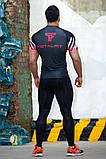 Рашгард мужской с коротким рукавом Totalfit RMS317 XXL Красный с черным, фото 2