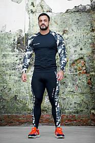 Рашгард чоловічий Totalfit RM3-P42 3XL Чорний з сірим