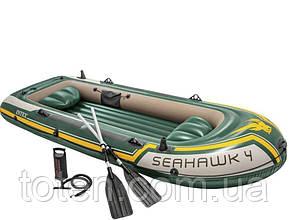Човен надувний 4-х місцева 338-127-50 см весла, ручний насос. 3-х камерна Іntex 68351