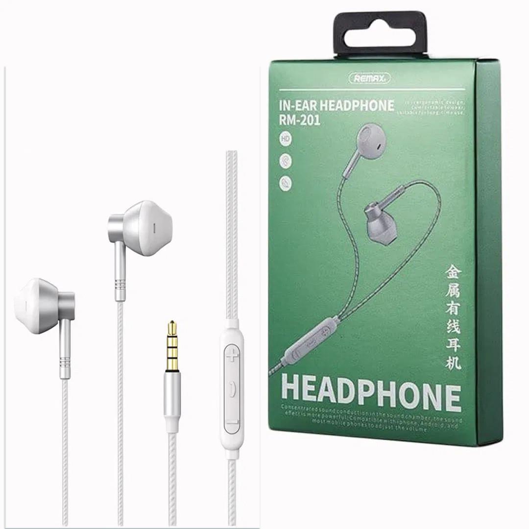 Наушники проводные с микрофоном  REMAX RM-201 In-Ear Stereo Metal Music Белый