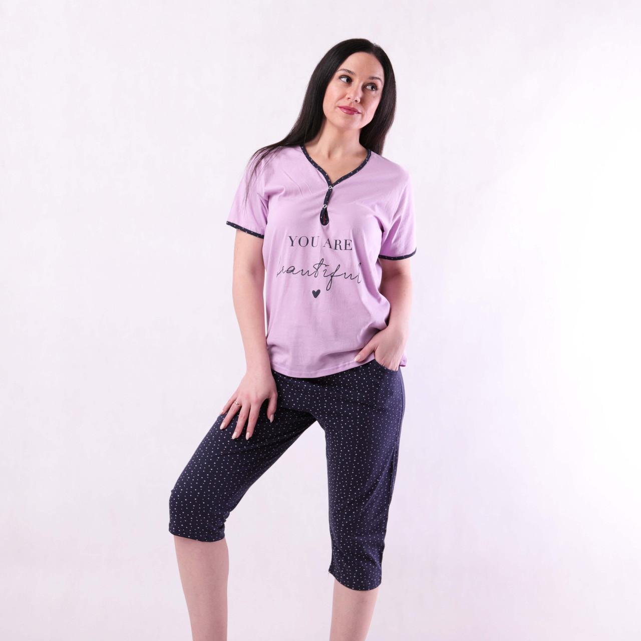 """Жіноча піжама футболка з бриджами """"Mary"""" р. 44-56"""