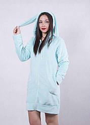 """Жіночий молодіжний халат з вушками """"Зефір"""" р. 42-48 тільки блакитний колір!!"""