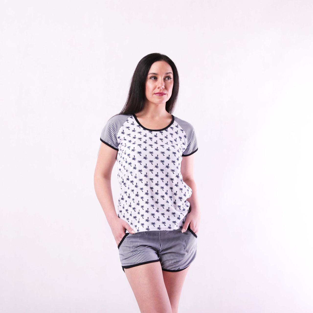 """Жіноча літнє піжама футболка з шортами """"Пальми"""" р. 42-54 двох різних кольорів!"""