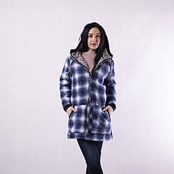 """Жіноча тепла кофта-куртка """"Клітка"""" 44-52 В НАЯВНОСТІ ТІЛЬКИ синій колір"""