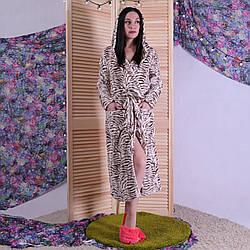 """Жіночий довгий махровий халат """"Латте"""" р. 42-54"""