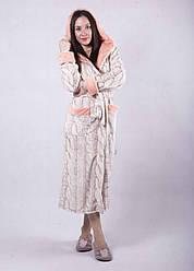 """Женский длинный махровый халат с двойным капюшоном """"Эшли"""" В НАЛИЧИИ ТОЛЬКО 50Р!"""