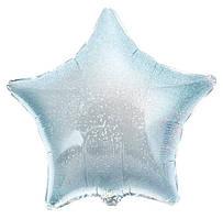 """Фольгированный шар Звезда 9"""" серебряный голограмма"""
