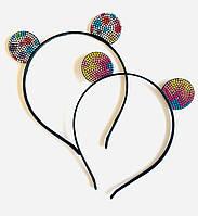 Обруч для волос Ушки Микки, цветные Стразы