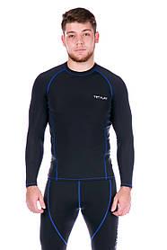 Рашгард чоловічий з синьою стрічкою Totalfit RM4-Y75 4XL Чорний, Синій